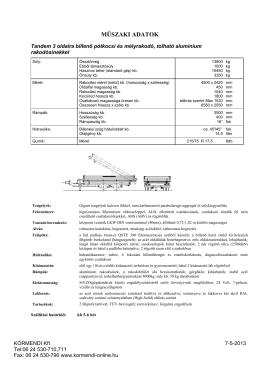 Műszaki leírás - Körmendi Kft.