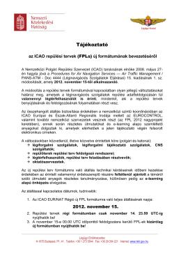 Tájékoztató a repülési tervek kitöltése szabályainak 2012