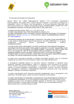 """Furnérozási technológiai sor beszerzése"" Garzon Bútor Zrt. (8000"