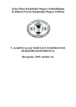 program - II. Rákóczi Ferenc Kárpátaljai Magyar Főiskola