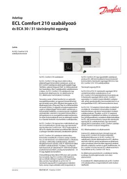 ECL Comfort 210 szabályozó és ECA 30 / 31 távirányító