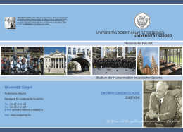 Universität Szeged – Medizinische Fakultät 2015/2016