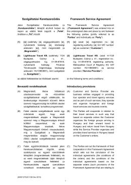 Szolgáltatási Keretszerződés Framework Service