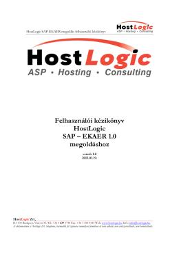 Felhasználói kézikönyv HostLogic SAP – EKAER 1.0