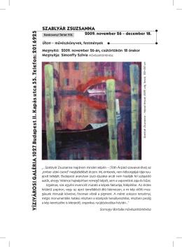 SZABLYÁR ZSUZSANNA - Vízivárosi Galéria