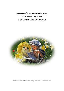 Priporočilni seznam knjig za Bralno značko 2013/14