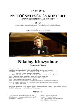 Nikolay Khozyainov - Erzsébetligeti Színház