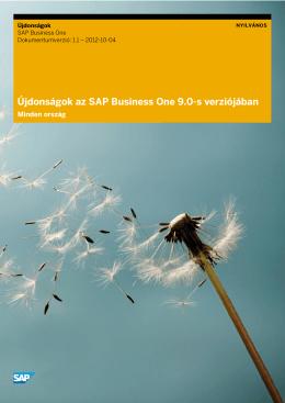Újdonságok az SAP Business One 9.0-s verziójában