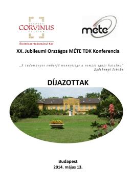 díjak - XX. Jubileumi Országos MÉTE Tudományos Diákköri