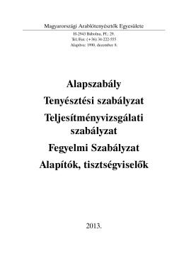 Szabályzatok 2013 (pdf) - Shagya-arab