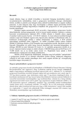8 A refrakter angina pectoris terápiás lehetőségei Prof. Czuriga István