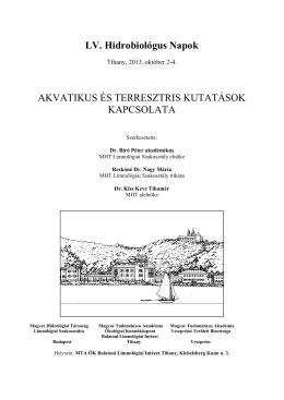 LV. Hidrobiológus Napok - Balatoni Limnológiai Kutatóintézet