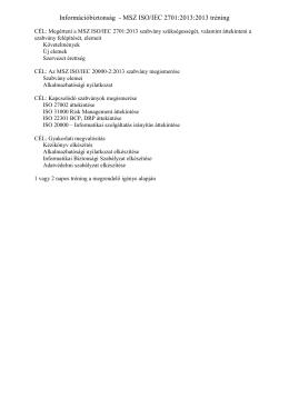 Információbiztonság - MSZ ISO/IEC 2701:2013:2013 tréning