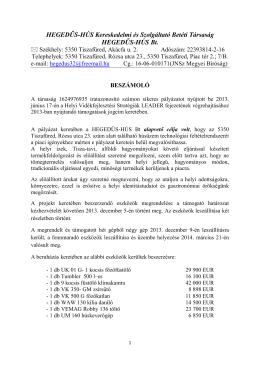 HEGEDŰS-HÚS Bt. - Tisza-tó Térsége Leader Egyesület