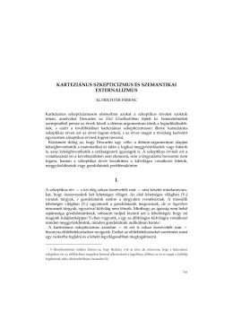 karteziánus szkepticizmus és szemantikai externalizmus i.