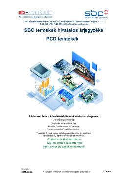 SBC termékek hivatalos árjegyzéke PCD termékek - SB
