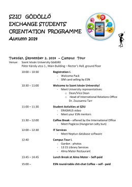 ORIENTATION PROGRAMME Autumn 2014