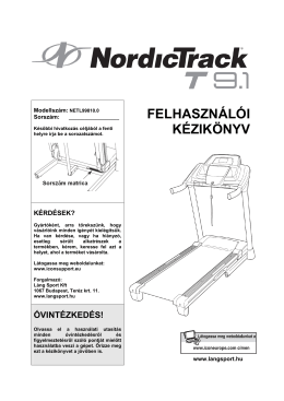 NordicTrack T9.1 futópad használati utasítás