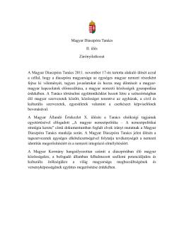 Magyar Diaszpóra Tanács II. ülés Zárónyilatkozat A