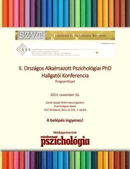 II. Országos Alkalmazott Pszichológiai PhD Hallgatói Konferencia
