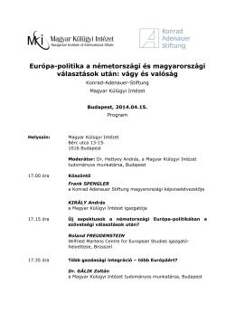 A rendezvény programja (pdf, 75 KB) - Konrad-Adenauer