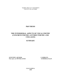PhD THESIS THE INTERMEDIAL ASPECTS OF VISUAL POETRY