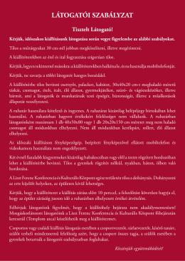 LÁTOGATÓI SZABÁLYZAT