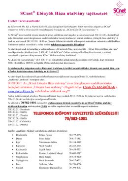 SCnet Előnyök Háza utalvány tájékoztató