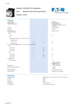 1 oldal Kontaktor, 5,5 kW/400 V, AC-működtetésű Típus