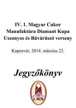 IV. 1. MCM Diamant Kupa, 2014.03.22. - Bácsvíz