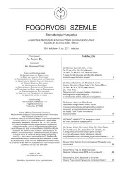 Fogorvosi szemle - Magyar Fogorvosok Egyesülete