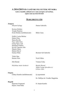 2007/2008-as tanévre felvettek névsora