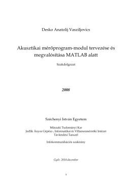 Akusztikai mérőprogram-modul tervezése és megvalósítása