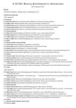 a xviii. bolyai konferencia programja - Bolyai Kollégium