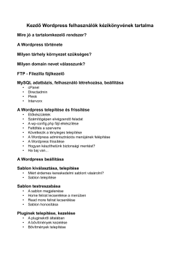 Kezdő WordPress felhasználók kézikönyve