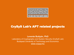 CrySyS Lab`s APT related projects