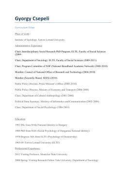 Curriculum Vitae and Professional Summary of Gyorgy Csepeli