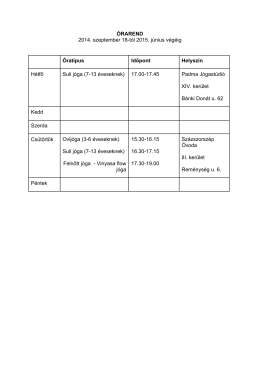 ÓRAREND 2014. szeptember 18-tól 2015. június végéig