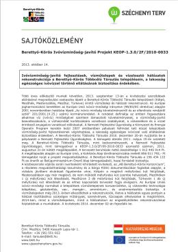 Berettyó-Körös Ivóvízminőség-javító Projekt KEOP-1.3.0/2F/2010-0033