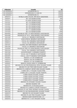 cikkszám termék ár 20120900003 INTERPHONE F2 26490