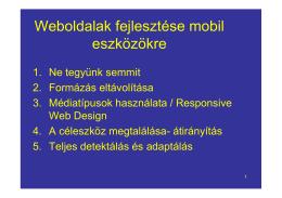 Weboldalak fejlesztése mobil eszközökre