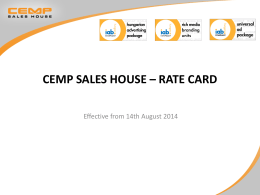 CEMP SALES HOUSE – RATE CARD