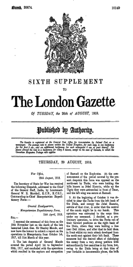 The London Gazette - War Letters 1914–1918