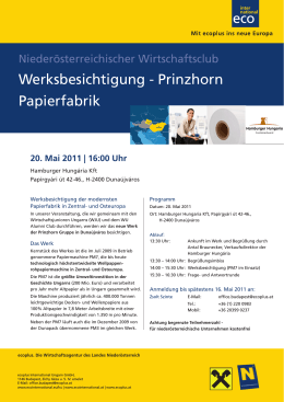 Werksbesichtigung - Prinzhorn Papierfabrik
