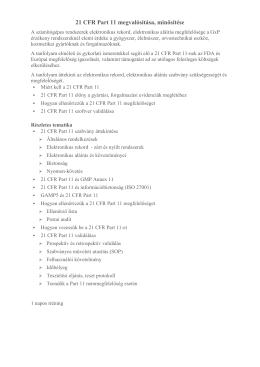 21 CFR Part 11 megvalósítása, minősítése