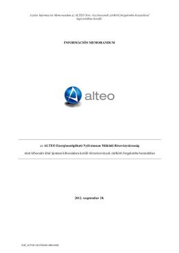 Az ALTEO Nyrt-re vonatkozó bennfentes információk közzététele II.