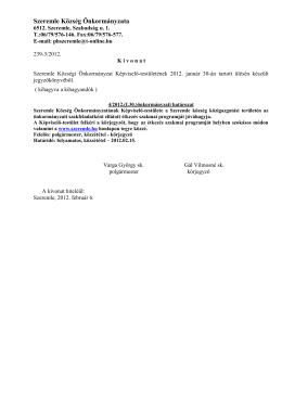 4/2012.(I.30.) Önkorányzati határozat a feladatként