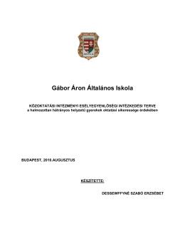 Esélyegyenlőségi munkaterv - Gábor áron Általános Iskola