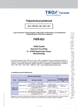 Teljesítménynyilatkozat FKR-EU