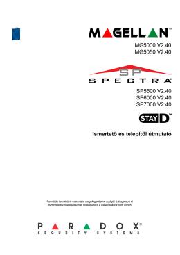 Paradox SP4000, SP5500, SP6000, SP7000 telepitői kézikönyv